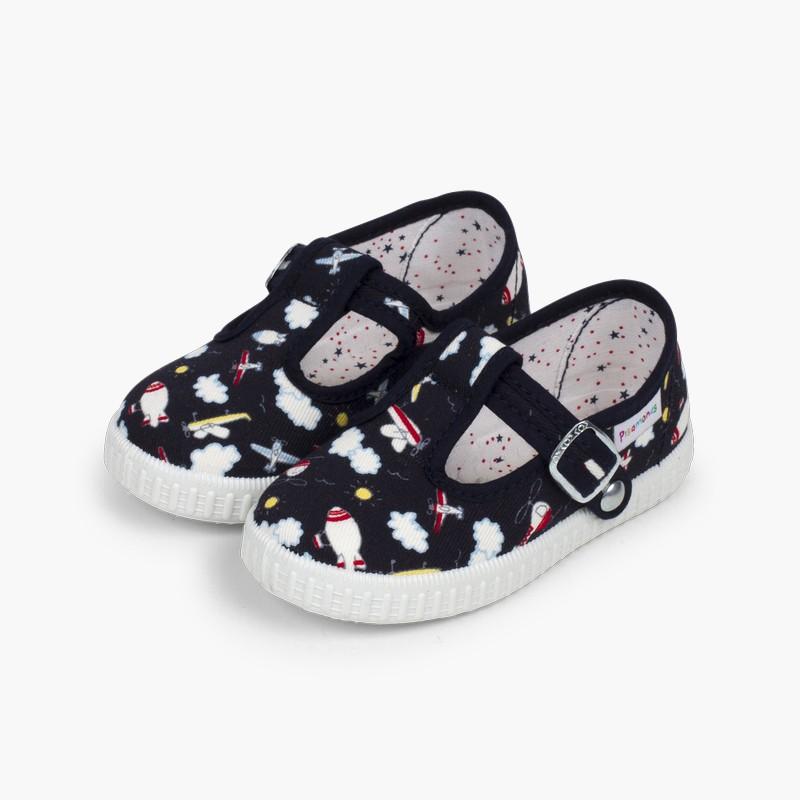Chaussures salomé toile imprimé fermeture bouton