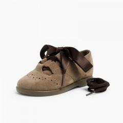 Chaussures anglaises enfants en suède Taupe