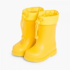 Bottes de pluie pour petits enfants avec col ajustable Igor Jaune