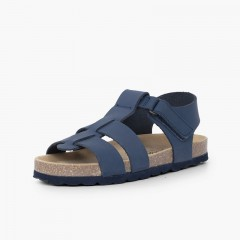 Sandales bio enfant cuir nubuck Bleu marine