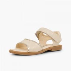 Sandales en cuir brillant fille velcro Beige