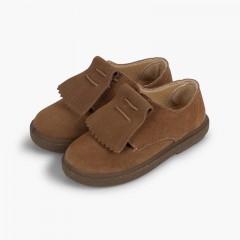 Chaussures blucher en suède à franges lisses  Taupe