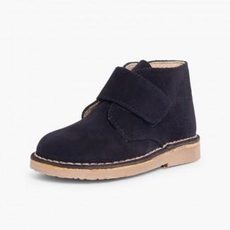 Suède Desert Boots Bottines Chukka à Velcro pour Enfants Bleu marine