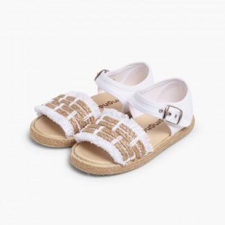 Sandales à Franges Style Espadrille Blanc
