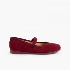 Chaussures fille en serratex avec velcro Bordeaux