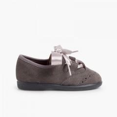 Chaussures anglaises enfants en suède Gris