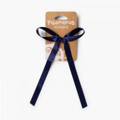Chouchou avec nœud en satin Bleu marine