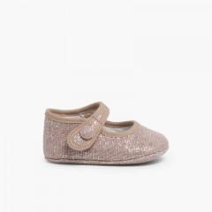 Babies Pour Bébé en Lin Avec Velcro Rose Pâle