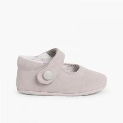 Chaussures en suède avec fermetures velcro pour bébés Gris