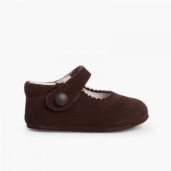 Chaussures en suède avec fermetures velcro pour bébés Marron