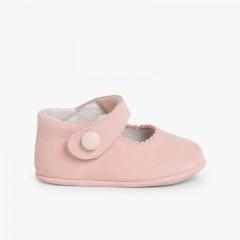 Chaussures en suède avec fermetures velcro pour bébés Rose