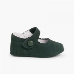 Chaussures en suède avec fermetures velcro pour bébés Vert