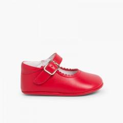 Chaussures babies en cuir avec fermeture à boucle pour bébés Rouge