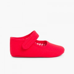Chaussures babies en toile à scratch pour bébé Rouge