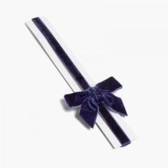 Serre-tête élastique en velours avec nœud papillon Bleu marine