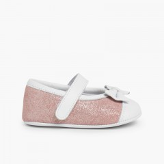 Chaussures Babies à Velcro en Cuir Nappa et Cuir Suédé Brillant Rose