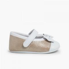 Chaussures Babies à Velcro en Cuir Nappa et Cuir Suédé Brillant Or