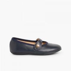 Chaussures à boucle Fille Cuir Couleurs Bleu marine