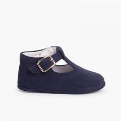 Chaussures Salomé en suède avec fermeture à boucle pour bébé   Bleu marine