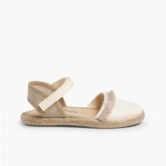 Sandales à Franges Style Valenciennes, Fermeture Velcro Beige