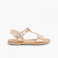 Sandales cuir lisse Métallisées Bronze