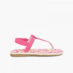 Sandales entredoigts Toile Velcro Fille Fucsia