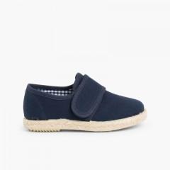 Chaussures Blucher Avec Velcro et Semelle D'espadrille Bleu marine