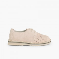 Chaussures Derbies en Suède Perforé Beige