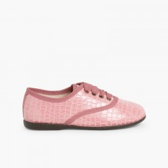 Chaussures Oxford Fille et Femme – Imitation Croco Rose