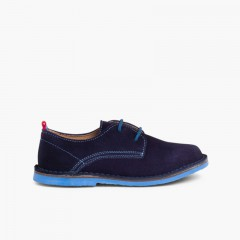 Chaussures Blucher garçon en cuir et lacets colorés Bleu marine