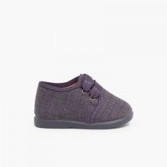 Chaussures en toile façon Derbies pour Garçon Gris