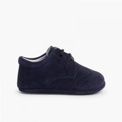Bottines Bébé en cuir style blucher  Bleu marine