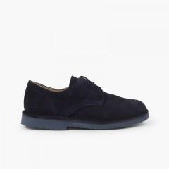 Chaussures Blucher élégantes en suède lisse garçon Bleu marine