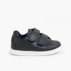 Chaussures de sport pour bébé et enfant cuir Lavable Bleu marine