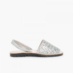 Sandales Avarcas Glitter Fille & Femme Argent