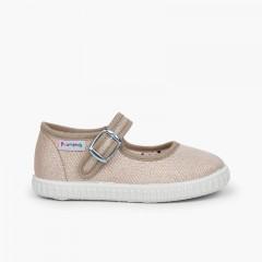 Chaussures babies avec boucle en toile avec des brillants Or