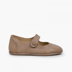 Chaussures babies fille cuir velcro bouton Taupe
