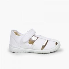 Chaussures salomé sandale velcro garçon bout renforcé Blanc