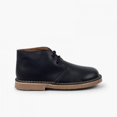 Bottines Cuir Lacets Doublure Type Mouton Bleu marine