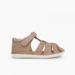 Sandales en cuir pour garçon avec du velcro Taupe