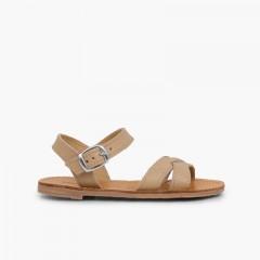 Sandale Croisée Cuir Lisse  Sable