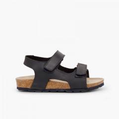 Sandales en cuir bio pour enfant double velcro Bleu marine