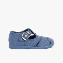 Salomés style sandales en toile Bleu denim