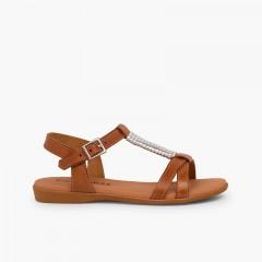 Sandales semelle rembourrée et ornement argenté Couleur Cuir
