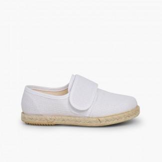 Blucher Velcro Lin Jute Blanc