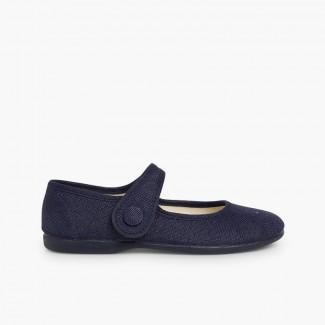 Chaussures babies fille lin velcro bouton Bleu marine