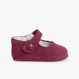 Chaussures en suède avec fermetures velcro pour bébés Bordeaux