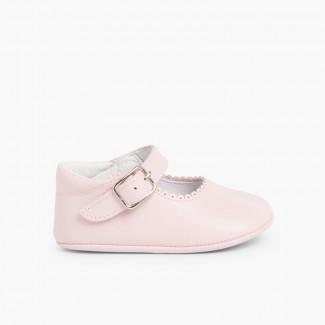 Chaussures babies en cuir avec fermeture à boucle pour bébés Rose