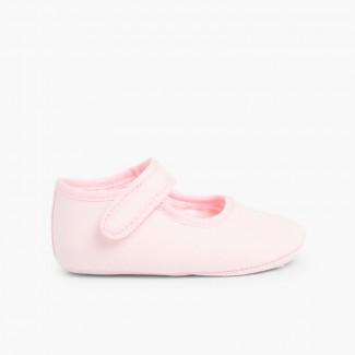 Chaussures babies en toile à scratch pour bébé Rose