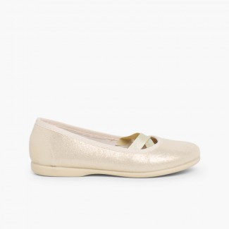 Ballerines fille style ballet effet brillant Or